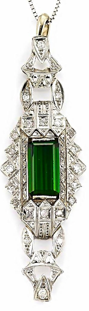 Green Tourmaline and Diamond Pendant with Chain
