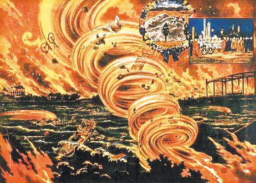 1923 dragon twist (tornado of fire) that incinerated 44,000 Japanese following devastating earthquake that claimed 140,000 lives. I had never heard of a 'dragon twist' or tatsumaki.