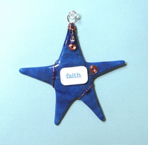 Inspirational Wishing Star/ FAITH/ Fused Glass by SusanFayePetProjects, $20.00