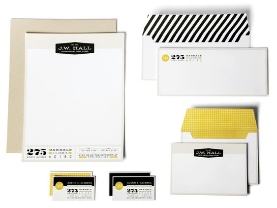 stationery branding, good use of block typefaces, jet black & goldenrod yellow