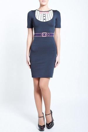 NWT Zac Posen Z Spoke stretch knit dress w/ printed belt & collar L $650