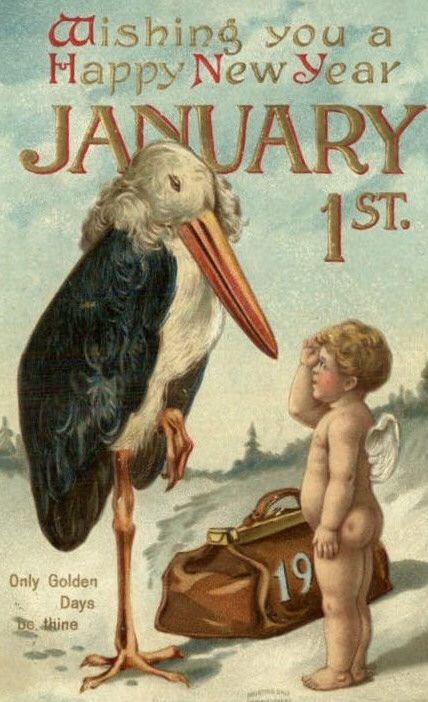Vintage Postcard - Happy New Year - Stork and Baby: