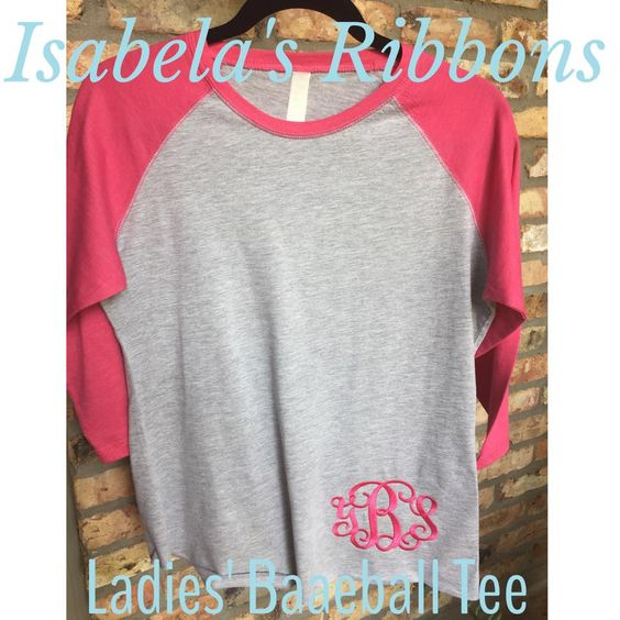 Ladies Baseball Tee shirt custom embroidery made to order www.facebook.com/isabelasribbons  $22 ($2.50 ship usa)