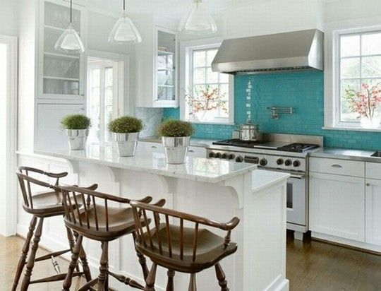 """Other shades of blue seem to work well, too, especially with light wood or white cabinets. With open kitchen, a lot of the objects displayed will """"pop""""."""