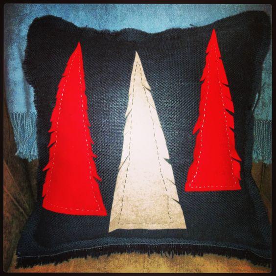 Christmas tree pillow for three bucks! Burlap & craft felt.