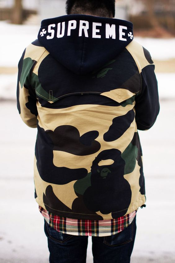 #supreme hoodie and #bape jacket