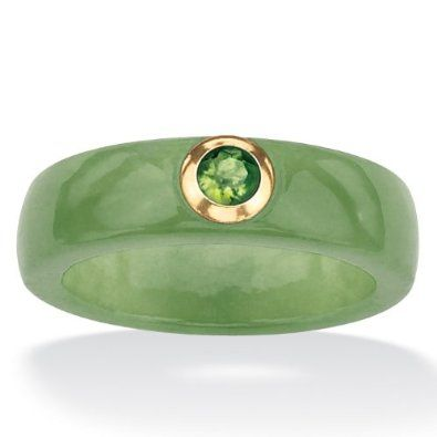 Amazon.com: PalmBeach Jewelry 1/4 TCW Round Genuine Peridot and Genuine Green Jade 10k Yellow Gold Band Ring: Jewelry