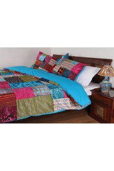 """Karma Living Burnout Cotton Blue Bed Cover - 86"""" x 92"""""""