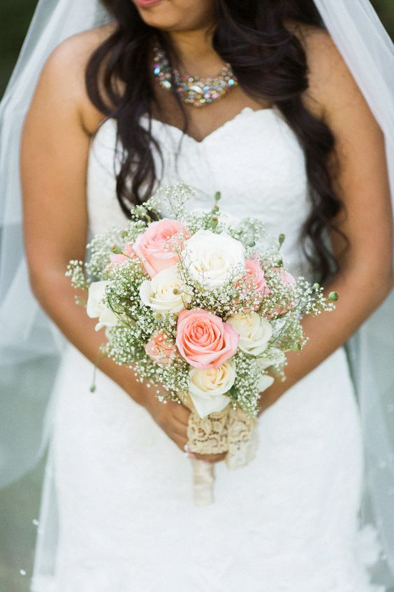 Love the sweet tradition of a rose, baby's breath and lace #Bouquet. See the wedding on SMP - http://www.StyleMePretty.com/2014/01/13/diy-backyard-oregon-wedding/ Anna Jaye Photography:
