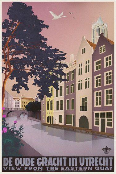 Travelposter of the city of Utrecht, the Netherlands - De Oude Gracht -