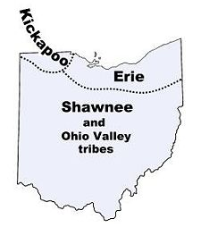 Map of Ohio Indian tribes in the past