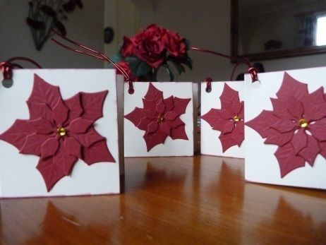 Pack of 4 Red Poinsettia Christmas Gift Tags £1.50