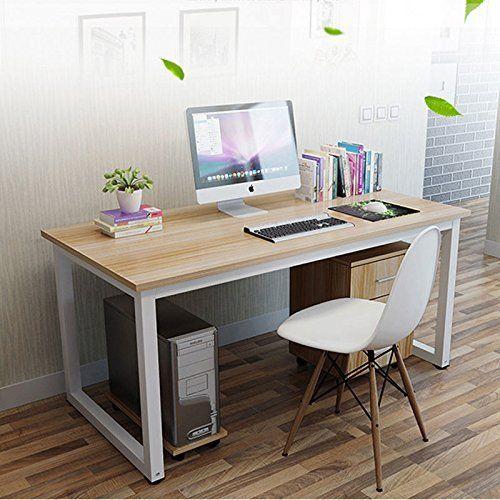 Mesa de ordenador, escritorio con ranuras de trabajo: mesa de comedor, mesa de reuniones, mesa para la casa, la oficina o el estudio, 120× 60× 74cm moderno