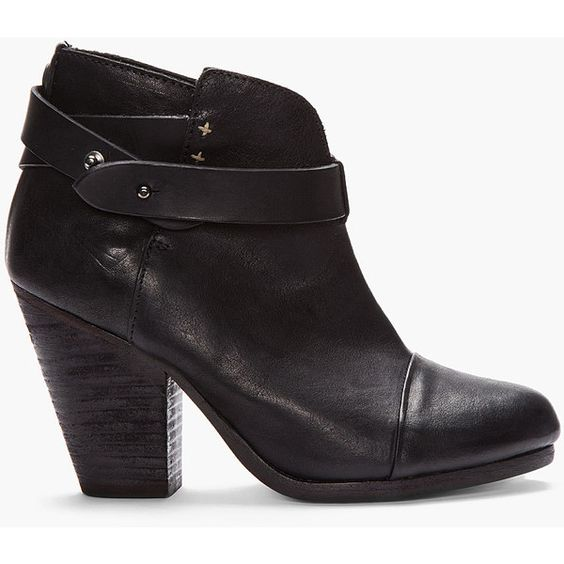 RAG & BONE Black Leather Belted Harrow Boots