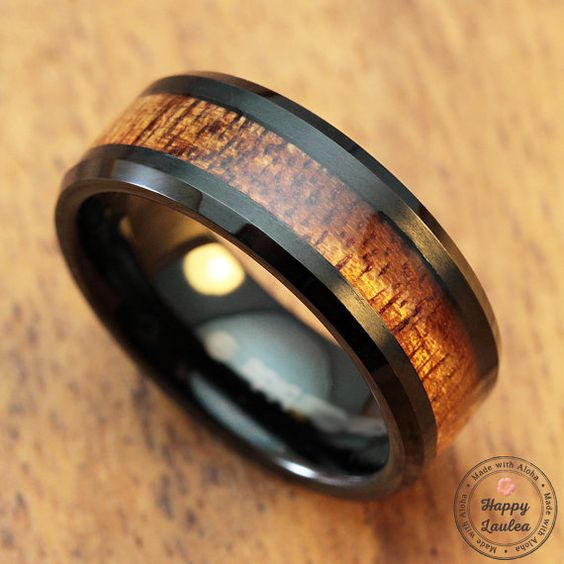 Black Tungsten Carbide Ring With Koa Wood Inlay 8mm Width
