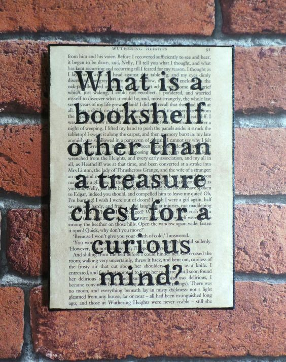 'What is a bookshelf other than a treasure chest for a curious mind?' Vintage book page quote canvas. £8.99 (plus P&P) https://www.etsy.com/uk/shop/ArcadiaHomeCreations: