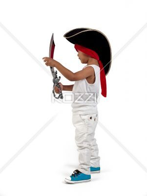 side view of little pirate. - Side view of little pirate over white background,