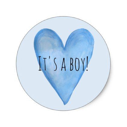Its A Baby Boy Blue Heart Birth Announcement Classic Round