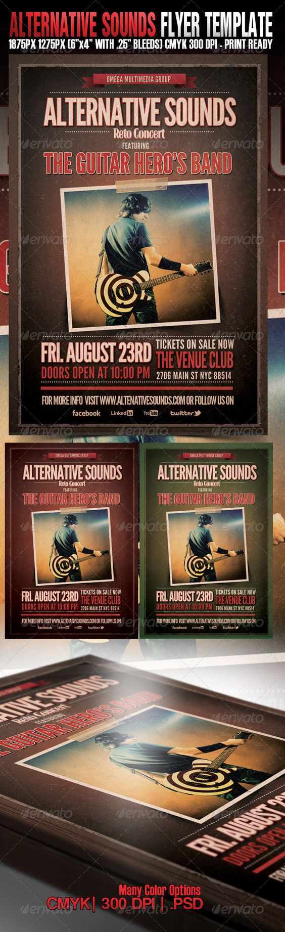 Alternative Sounds — Photoshop PSD #fall #template • Available here → https://graphicriver.net/item/alternative-sounds/2689253?ref=pxcr