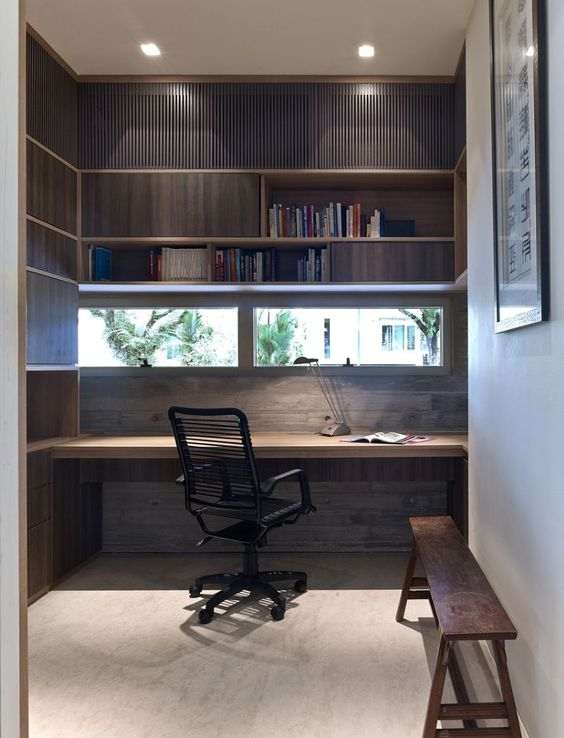 Decorating creative built in studying desk on small space for Built in study table