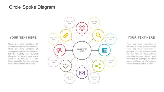 Circle Spoke Template for PowerPoint. Fully editable instantly downloadable…