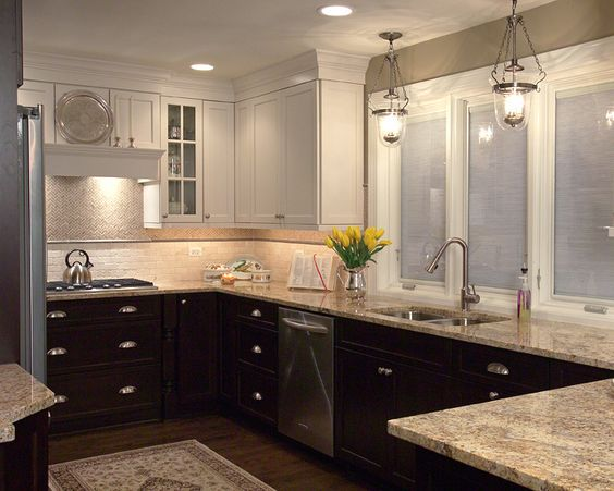 White painted wall cabinets and dark cherry stained base for Cherry kitchen cabinets with glass doors