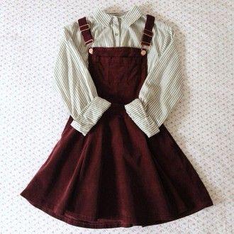 dress dungarees burgundy blouse shirt overall dress red tumblr hipster soft grunge velvet skater overall hipster vintage