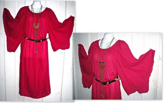 Vintage DOLMAN BATWing SLEEVE BOHO Gypsy KIMONO Hot PINK Dress One Sz  Festival #CaressDress