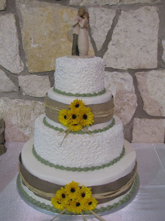 Wedding Cakes With Real Sunflowers