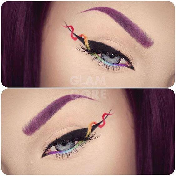 WEBSTA @ mykie_ - NEW TUTORIAL! How to do rainbow helix eyeliner inspired by…