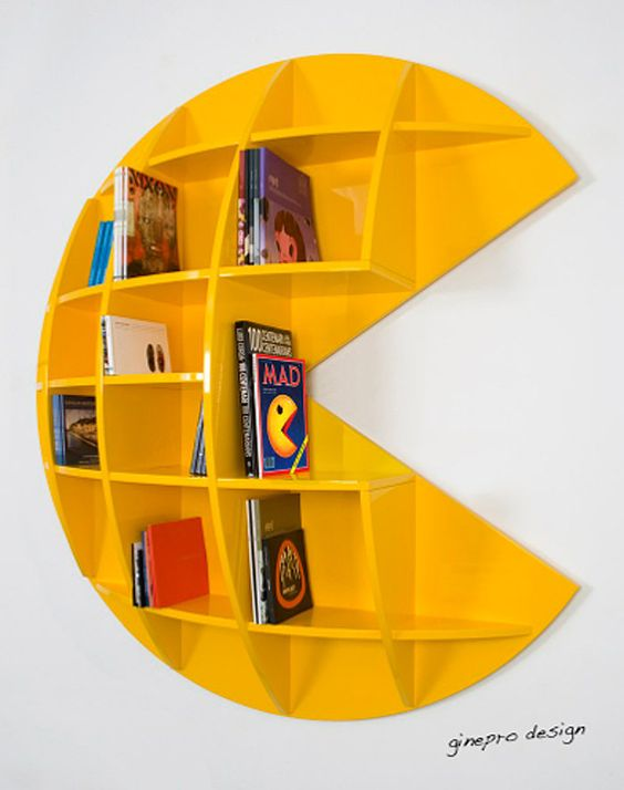 """This """"Puckman"""" bookcase (price upon request) is made to order and comes available in yellow, white, and black. So hard to choose!"""
