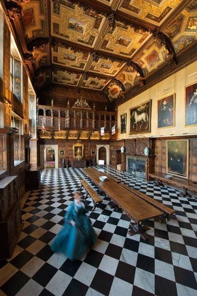 Marble Hall of Hatfield House, north of London. Built in 1611 as a retreat for King James: