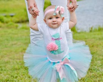 Aqua and Pink--3D Cupcake--Baby Girl 1st Birthday Tutu Set--Party Outfit-- Photo Prop