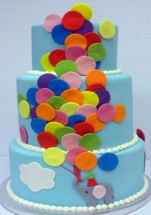 Birthday Cake Decorated With Balloons : Balloon Birthday Cake from the Cupcake Shoppe in Raleigh ...