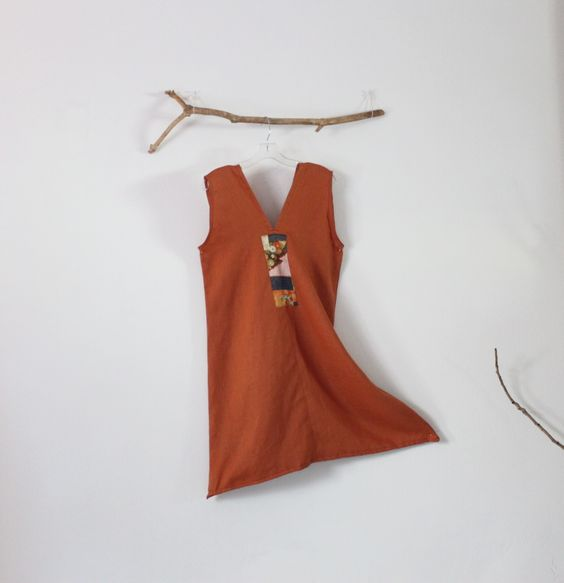 rust linen dress size S-M ready to wear