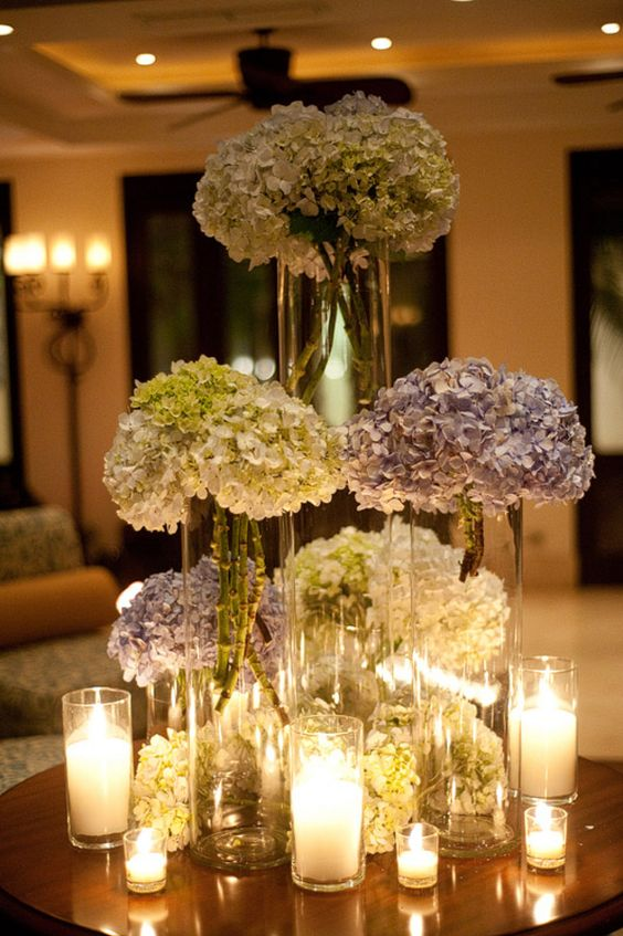 Tall hydrangea centerpieces receptions for the and