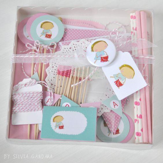 kit party rosa y turquesa- personalizable- de Silvia Garanda