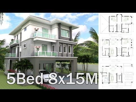 8x7m Sketchup Home Designed By Sam Phoas Architect This Villa Is Modeling With 2 Stories Level Home 5 Bedroom House Plans Beach House Plans Three Story House