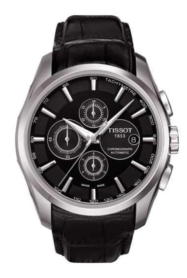 Tissot Couturier Men's Automatic Black Leather Watch
