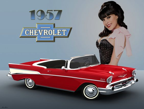 57 Chevy with pin-up girl Art Print