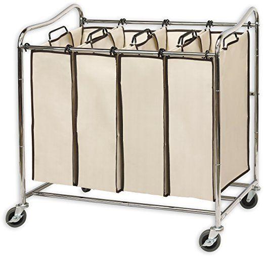 Simplehouseware 4 Bag Heavy Duty Rolling Laundry Sorter Cart