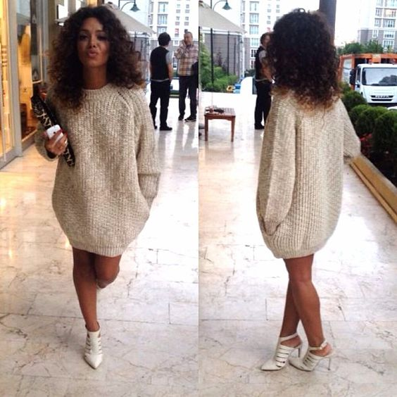 11398cbccdd Oversized Sweater Sweater dress + Heels Anlke Booties in matching color   u003d ...