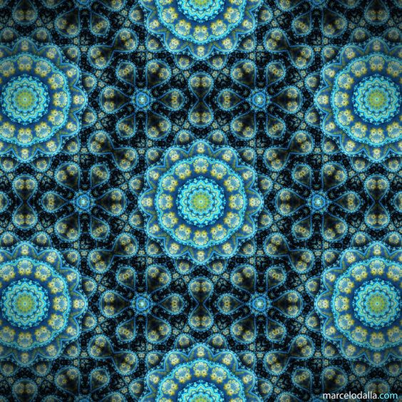 """Deep Sea"" - fabric with mandalas by Marcelo Dalla, via ManDalla Arte Visual"