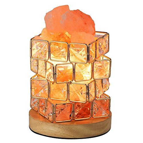 Halovie Salt Lamp Pink Crystal Salt Rock Lamp Night Light With Elegant Wooden Base Salt Lamp Bulb Dimmer Switch 3 3 Pound Salt Lamp Bulbs Salt Rock Lamp Salt Crystal Lamps