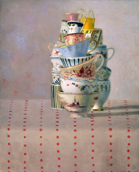 """Olga Antonova: """"Cups on Red Dots"""", Oil on canvas.:"""