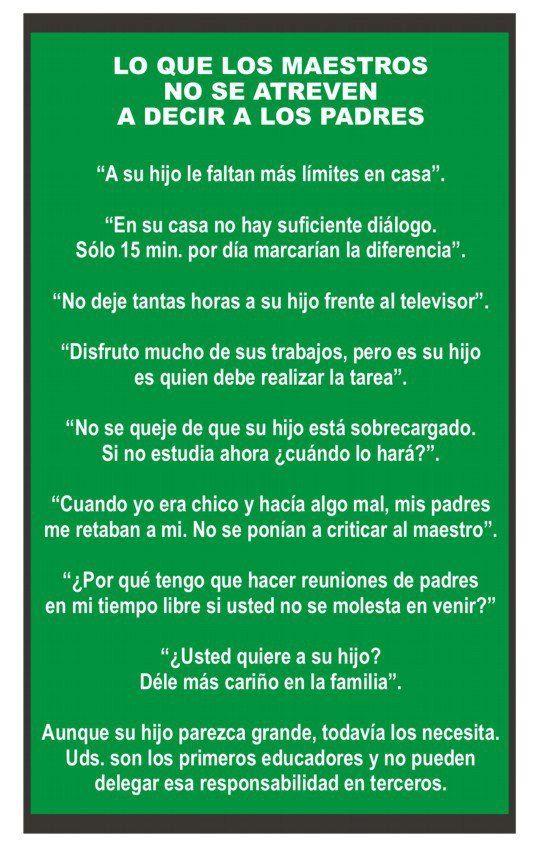 Lo que los maestros no se atreven a decir a los padres #educación #mejoraeducativa