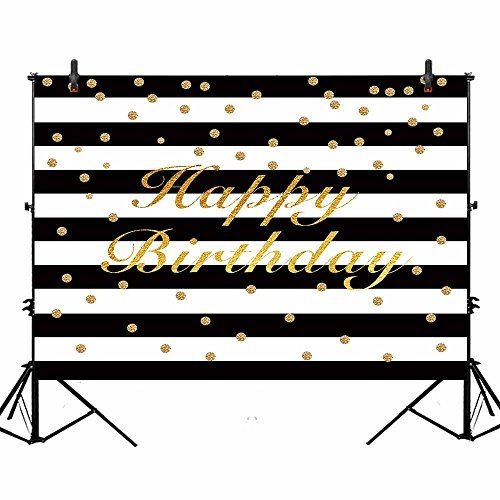 New Black and White Stripes Photography Backdrop Props Happy Birthday Party Decorations Banner Photo Studio Booth Background 7x5ft