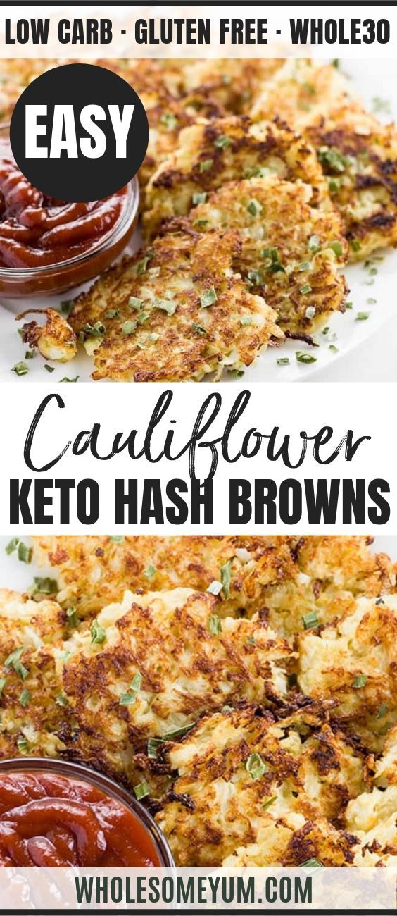 Cauliflower Hash Browns Recipe 6 Ingredients Low Carb Paleo In 2020 Hashbrown Recipes Easy Healthy Breakfast Cauliflower Hash Brown Recipe