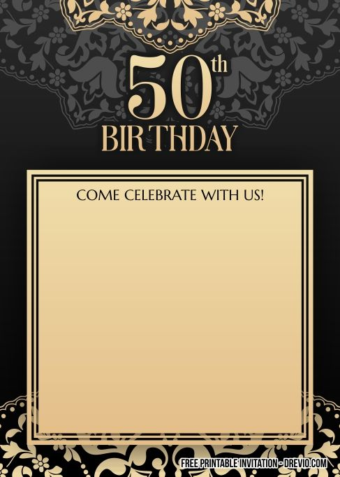 Free Printable 50th Birthday Invitation For Men Drevio 50th Birthday Invitations Printable Birthday Invitations Free Printable Birthday Invitations