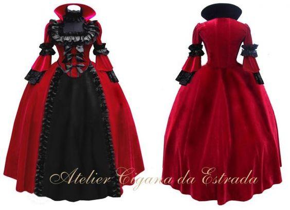 Vestido de Bruxa Vermelho e preto em veludo